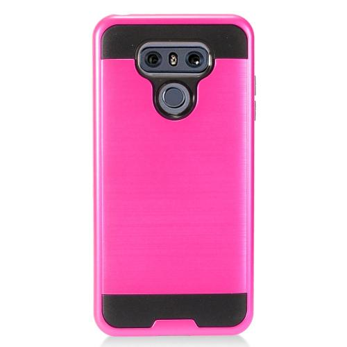 LG G6 Case, Super Slim Brushed Metallic Hybrid Hard Cover on TPU [Hot Pink] with Travel Wallet Phone Stand