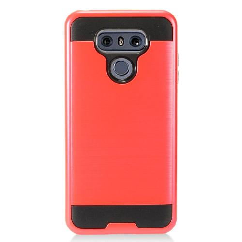 LG G6 Case, Super Slim Brushed Metallic Hybrid Hard Cover on TPU [Red] with Travel Wallet Phone Stand