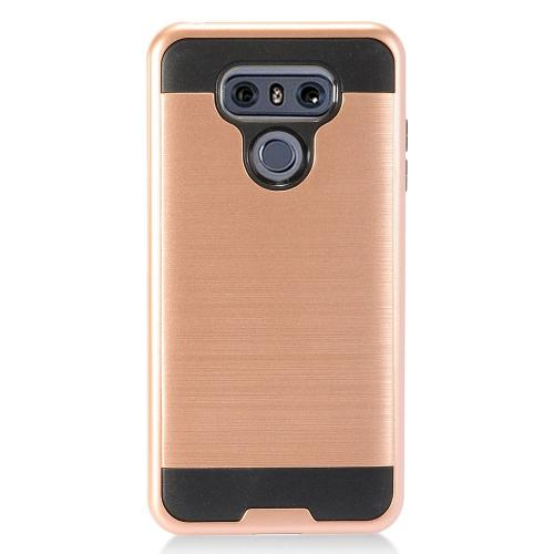 LG G6 Case, Super Slim Brushed Metallic Hybrid Hard Cover on TPU [Rose Gold] with Travel Wallet Phone Stand