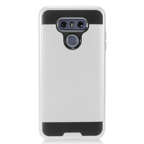 LG G6 Case, Super Slim Brushed Metallic Hybrid Hard Cover on TPU [Silver] with Travel Wallet Phone Stand