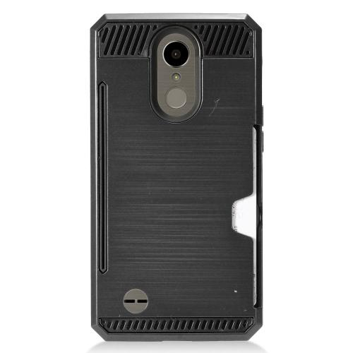 LG K10 (2017) Case, Super Slim Brushed Metallic Hybrid Hard Cover on TPU w/ Card Slots [Black] with Travel Wallet Phone Stand