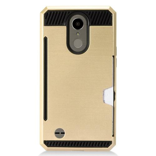 LG K10 (2017) Case, Super Slim Brushed Metallic Hybrid Hard Cover on TPU w/ Card Slots [Gold] with Travel Wallet Phone Stand