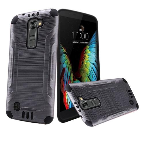 LG K10 Case, Slim Armor Brushed Metal Design Hybrid Hard Case on TPU [Gray/ Black]