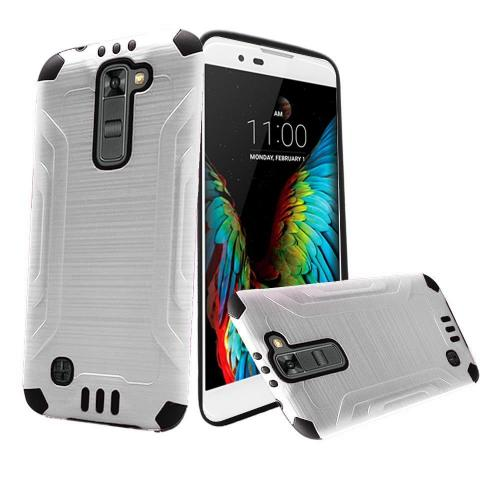 LG K10 Case, Slim Armor Brushed Metal Design Hybrid Hard Case on TPU [White/ Black]