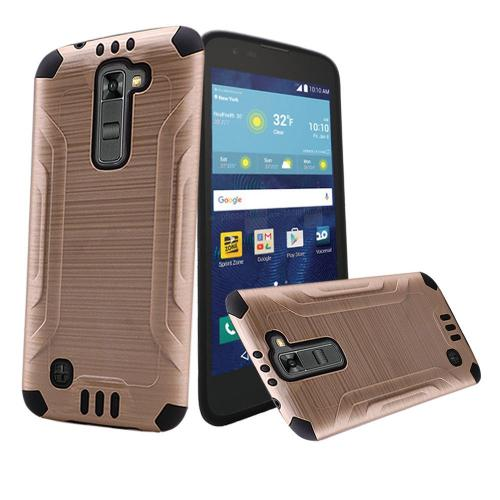 LG K7/ LG Tribute 5 Case, Slim Armor Brushed Metal Design Hybrid Hard Case on TPU [Gold/ Black]