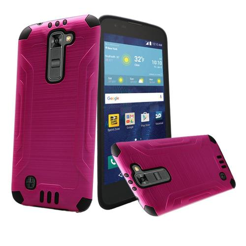 LG K7/ LG Tribute 5 Case, Slim Armor Brushed Metal Design Hybrid Hard Case on TPU [Hot Pink/ Black]