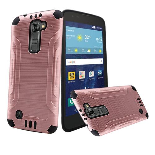 LG K7/ LG Tribute 5 Case, Slim Armor Brushed Metal Design Hybrid Hard Case on TPU [Rose Gold/ Black]
