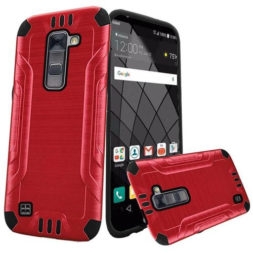 LG Stylo 2 Plus Case, Slim Armor Brushed Metal Design Hybrid Hard Case on TPU [Red/ Black]