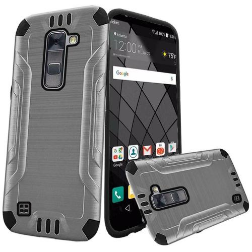 LG Stylo 2 Plus Case, Slim Armor Brushed Metal Design Hybrid Hard Case on TPU [Silver/ Black]