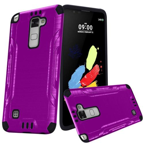 LG Stylo 2 Case, Slim Armor Brushed Metal Design Hybrid Hard Case on TPU [Purple/ Black]