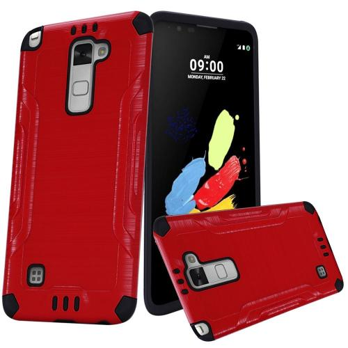 LG Stylo 2 Case, Slim Armor Brushed Metal Design Hybrid Hard Case on TPU [Red/ Black]