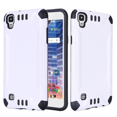 LG Tribute HD Case, Slim Armor Brushed Metal Design Hybrid Hard Case on TPU [White/ Black]