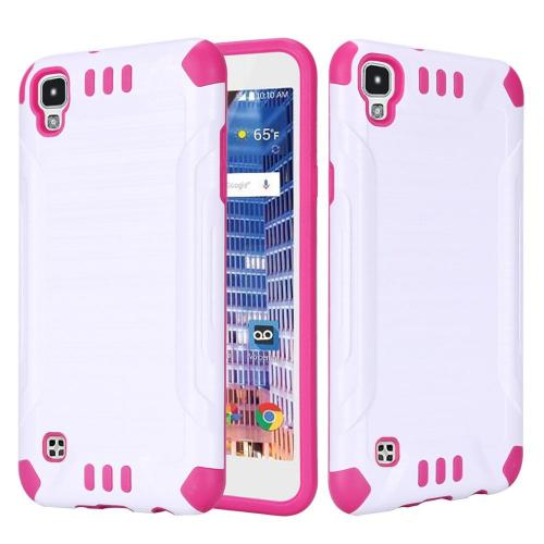 LG Tribute HD Case, Slim Armor Brushed Metal Design Hybrid Hard Case on TPU [White/ Hot Pink]