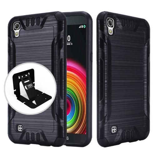 LG X Power Case, Slim Armor Brushed Metal Design Hybrid Hard Case on TPU [Black]