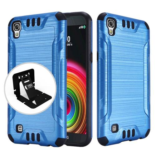 LG X Power Case, Slim Armor Brushed Metal Design Hybrid Hard Case on TPU [Blue/ Black]