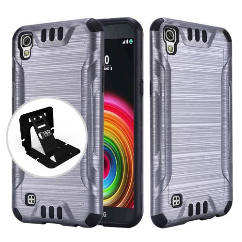 LG X Power Case, Slim Armor Brushed Metal Design Hybrid Hard Case on TPU [Gray/ Black]