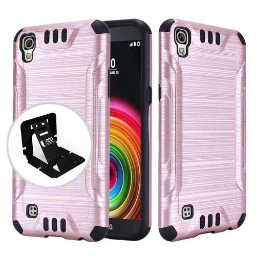 LG X Power Case, Slim Armor Brushed Metal Design Hybrid Hard Case on TPU [Rose Gold/ Black]