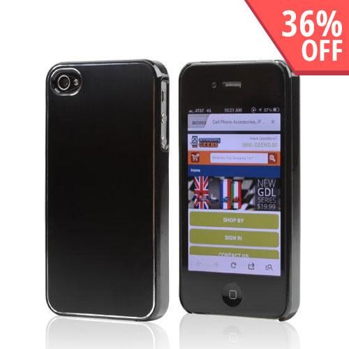 Black Rubberized Hard Case w/ Aluminum Back for Apple iPhone 4/4S