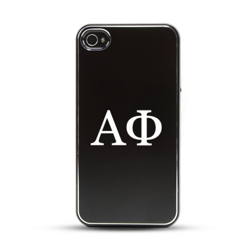 Alpha Phi AT&T/ Verizon Apple iPhone 4, iPhone 4S Rubberized Hard Case w/ Black Aluminum Back & 3 Pack Universal Screen Protectors