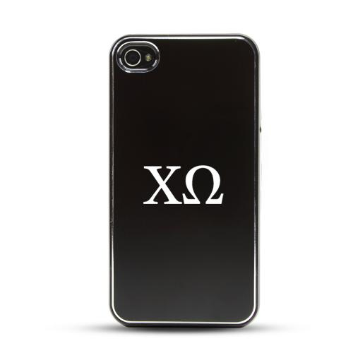 Chi Omega AT&T/ Verizon Apple iPhone 4, iPhone 4S Rubberized Hard Case w/ Black Aluminum Back & 3 Pack Universal Screen Protectors