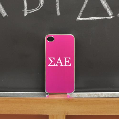 Sigma Alpha Epsilon AT&T/ Verizon Apple iPhone 4, iPhone 4S Rubberized Hard Case w/ Black Aluminum Back & 3 Pack Universal Screen Protectors