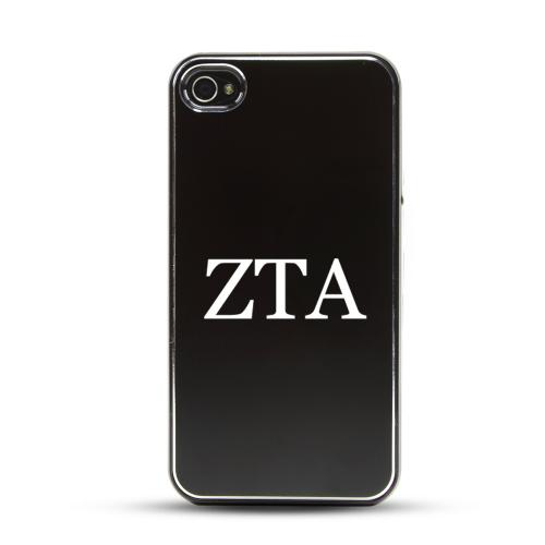 Zeta Tau Alpha AT&T/ Verizon Apple iPhone 4, iPhone 4S Rubberized Hard Case w/ Black Aluminum Back & 3 Pack Universal Screen Protectors