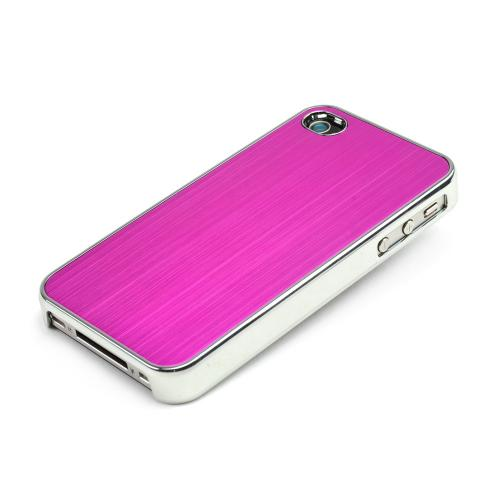 AT&T/ Verizon Apple iPhone 4, iPhone 4S Rubberized Hard Case w/ Aluminum Back - Hot Pink/ Black