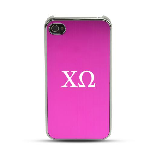 Chi Omega AT&T/ Verizon Apple iPhone 4, iPhone 4S Rubberized Hard Case w/ Hot Pink Aluminum Back & 3 Pack Universal Screen Protectors