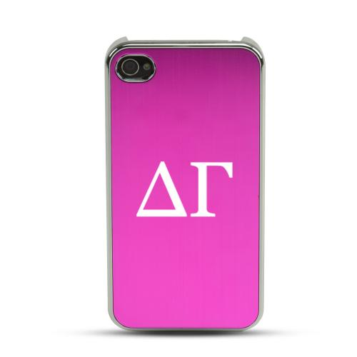 Delta Gamma AT&T/ Verizon Apple iPhone 4, iPhone 4S Rubberized Hard Case w/ Hot Pink Aluminum Back & 3 Pack Universal Screen Protectors