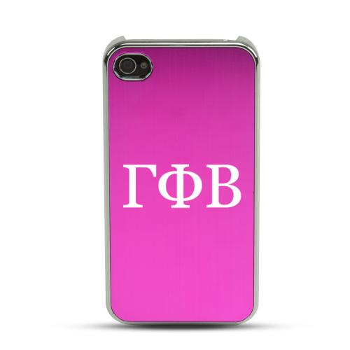 Gamma Phi Beta AT&T/ Verizon Apple iPhone 4, iPhone 4S Rubberized Hard Case w/ Hot Pink Aluminum Back & 3 Pack Universal Screen Protectors