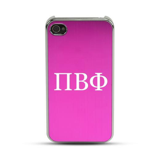 Pi Beta Phi AT&T/ Verizon Apple iPhone 4, iPhone 4S Rubberized Hard Case w/ Hot Pink Aluminum Back & 3 Pack Universal Screen Protectors