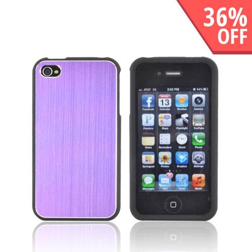 AT&T/ Verizon Apple iPhone 4, iPhone 4S Rubberized Hard Case w/ Aluminum Back - Purple/ Black
