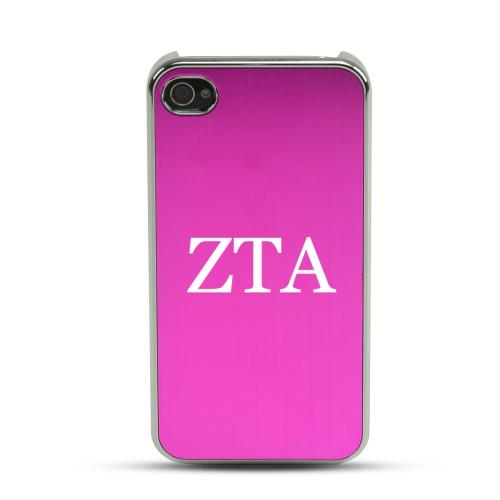 Zeta Tau Alpha AT&T/ Verizon Apple iPhone 4, iPhone 4S Rubberized Hard Case w/ Hot Pink Aluminum Back & 3 Pack Universal Screen Protectors