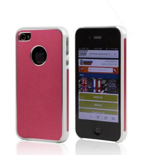 AT&T/ Verizon Apple iPhone 4, iPhone 4S Rubberized Hard Case w/ Aluminum Back - Red/White