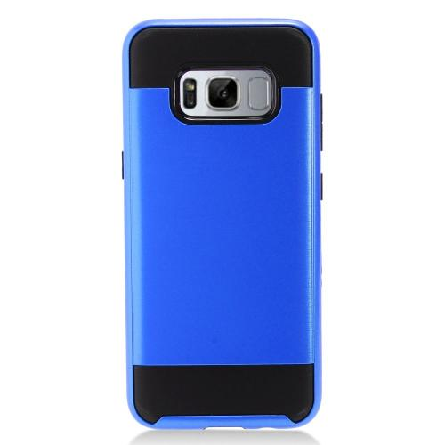 Samsung Galaxy S8 Plus Case, Slim Armor Brushed Metal Design Hybrid Hard Case on TPU [Blue/ Black] with Travel Wallet Phone Stand