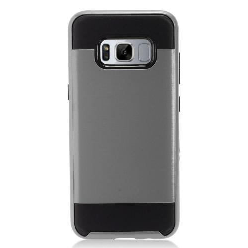 Samsung Galaxy S8 Plus Case, Slim Armor Brushed Metal Design Hybrid Hard Case on TPU [Gray/ Black] with Travel Wallet Phone Stand