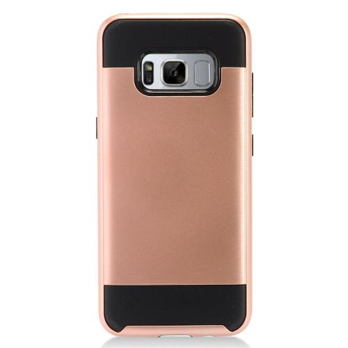 Samsung Galaxy S8 Plus Case, Slim Armor Brushed Metal Design Hybrid Hard Case on TPU [Rose Gold/ Black] with Travel Wallet Phone Stand