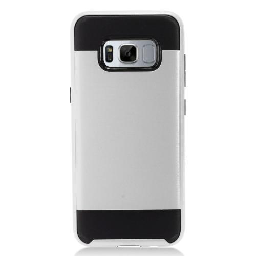 Samsung Galaxy S8 Plus Case, Slim Armor Brushed Metal Design Hybrid Hard Case on TPU [Silver/ Black] with Travel Wallet Phone Stand