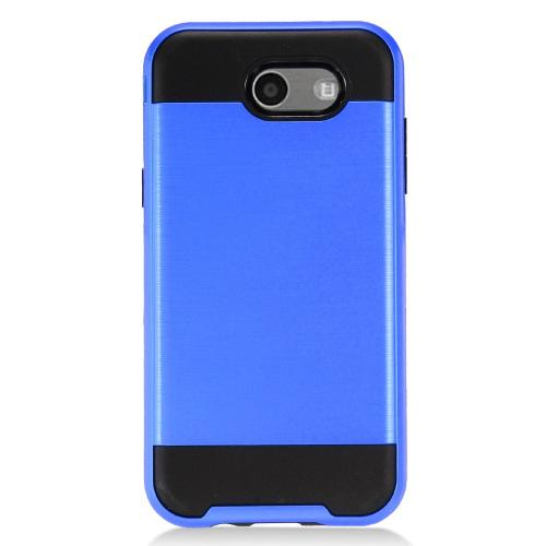 Samsung Galaxy J3 Emerge Case, Brushed Metal Hybrid Hard Case on TPU [Blue/ Black]