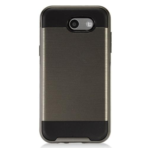 Samsung Galaxy J3 Emerge Case, Brushed Metal Hybrid Hard Case on TPU [Gray/ Black]