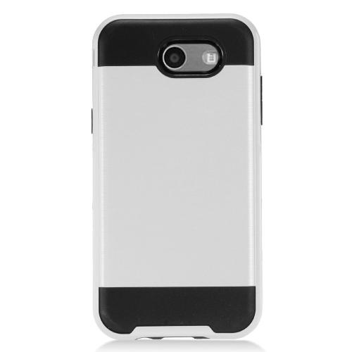Samsung Galaxy J3 Emerge Case, Brushed Metal Hybrid Hard Case on TPU [Silver/ Black]