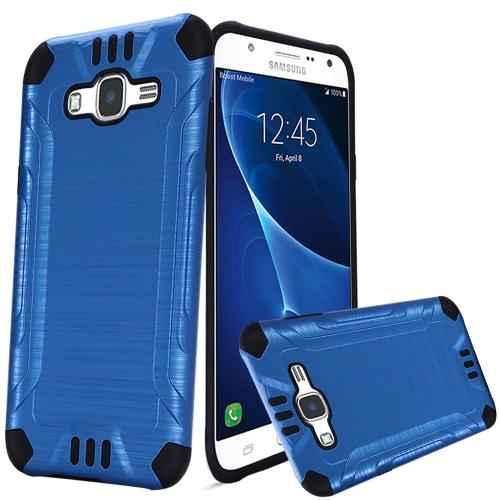 Samsung Galaxy J7 (2015) Case, Slim Armor Brushed Metal Design Hybrid Hard Case on TPU [Blue/ Black]