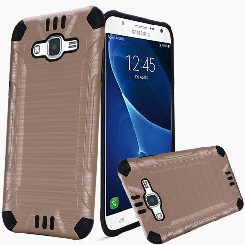 Samsung Galaxy J7 (2015) Case, Slim Armor Brushed Metal Design Hybrid Hard Case on TPU [Gold/ Black]