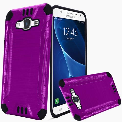 Samsung Galaxy J7 (2015) Case, Slim Armor Brushed Metal Design Hybrid Hard Case on TPU [Purple/ Black]