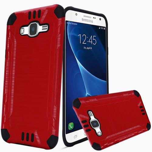 Samsung Galaxy J7 (2015) Case, Slim Armor Brushed Metal Design Hybrid Hard Case on TPU [Red/ Black]