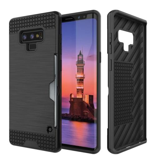 [REDshield] Samsung Galaxy Note 9 Card Case  [Black] Metallic Case Slim Brushed Metal Hybrid Hard Case on TPU w/ Card Slot