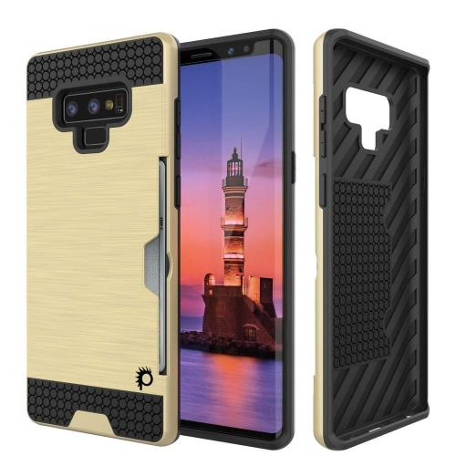 [REDshield] Samsung Galaxy Note 9 Card Case  [Gold] Metallic Case Slim Brushed Metal Hybrid Hard Case on TPU w/ Card Slot