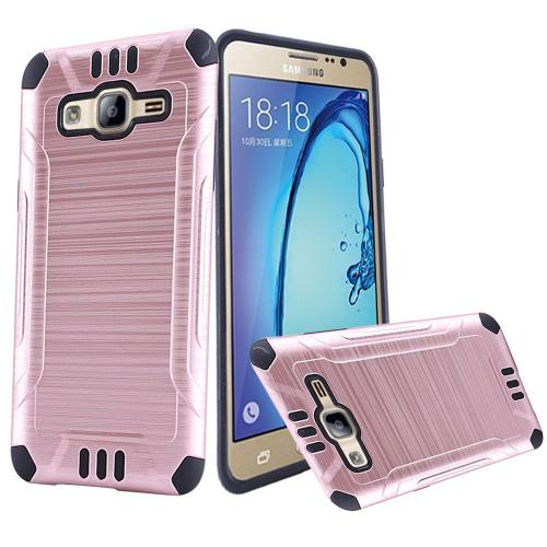 Samsung Galaxy On5 Case, Slim Armor Brushed Metal Design Hybrid Hard Case on TPU [Rose Gold/ Black]