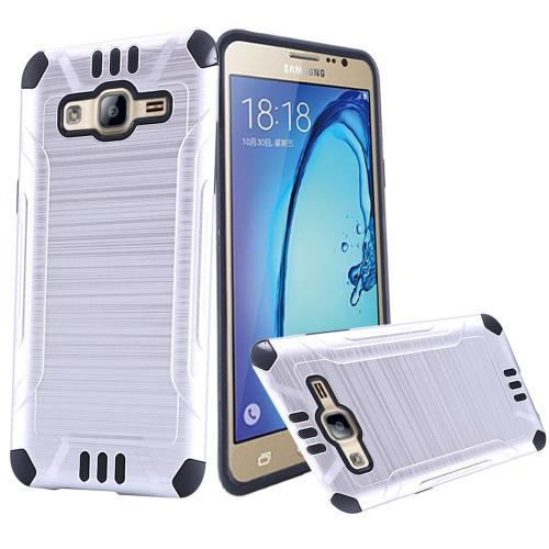 Samsung Galaxy On5 Case, Slim Armor Brushed Metal Design Hybrid Hard Case on TPU [Silver/ Black]