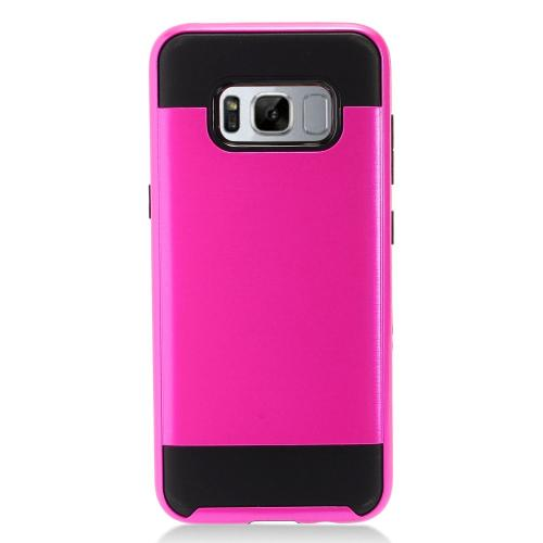 Samsung Galaxy S8 Case, Slim Armor Brushed Metal Design Hybrid Hard Case on TPU [Hot Pink/ Black] with Travel Wallet Phone Stand